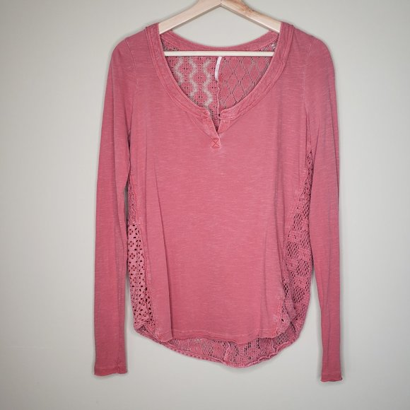 Free People Tops - Free People Patches of Lace Henley XS